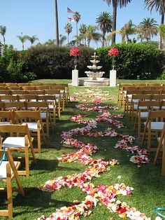 Decorative Path to the ceremony - compliments of Artquest Flowers