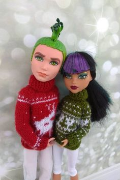 Items similar to Christmas sweaters Matching clothes for Monster High dolls. Hand-knitted dark red sweater for a MH boy and olive green sweater for a MH girl on Etsy Monster High Boys, Monster High Doll Clothes, Boy Doll, Girl Dolls, Olive Green Sweater, Matching Clothes, Christmas Sweaters, Christmas Time, Original Gifts