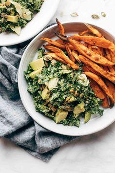 Avocado Kale Caesar Salad + Sweet Potato Fries - Pinch of Yum | #healthysalad