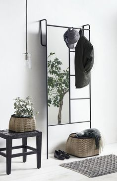 Black iron storage rack with mirror - The Forest & Co. Iron Storage, Storage Rack, Storage Mirror, Metal Furniture, Furniture Design, Furniture Storage, Floor Standing Mirror, Iron Console Table, Mirrored Side Tables