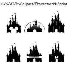 Disney Castle SVG Disney Castle Silhouette Clipart DXF Vector Monogram Cricut Silhouette Cameo