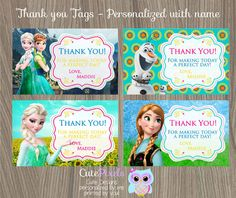 Frozen fever thank you tags, Frozen Fever Birthday Party