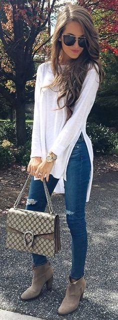 fall casual style outfit: top + bag + ripped jeans + boots