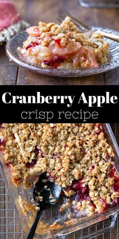 Cranberry apple crisp takes old-fashioned apple crisp and gives it a tart twist. Sweet and tart cranberry apple filling covered with oatmeal crisp topping. Check out the step-by-step photos and tips above the recipe! Fruit Crisp Recipe, Apple Crisp Recipes, Fruit Recipes, Fall Recipes, Holiday Recipes, Baking Recipes, Dessert Recipes, Fresh Cranberry Recipes, Christmas Recipes