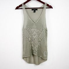 FOREVER 21 - Crochet Tank Top Worn a couple times, great condition. Razor back. Medium knit crochet. Slight hi-lo. ❌TRADES❌ Forever 21 Tops Tank Tops