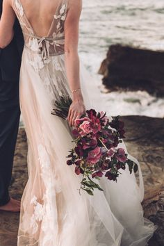 Bold Pink & Purple Bouquet | Rosy Sunset Cliffs Elopement Inspiration Session in San Diego, CA | Christian & Lee