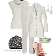 Sisal white suit and Lace top, by Etcetera.