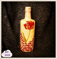 decoupage shabby chic bottle with faux bricks DIY ideas decorations craf...