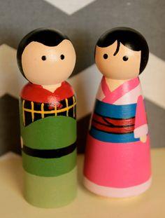 Mulan and Shang peg dolls