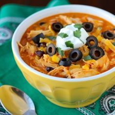 Crock Pot Chicken Enchilada Soup, so easy and so delicious you'll want to eat it every night!