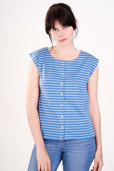 Louise Button Through Blue & White Striped T-Shirt