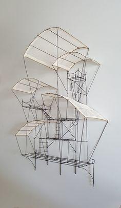 Sculpture Ornementale, Wall Sculptures, Architectural Sculpture, Architectural Models, Trash Art, Artistic Installation, Collaborative Art, Metal Homes, Wire Art