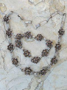 Vintage Mexican Sterling Sterling Silver 3 D Rose Necklace Bracelet Set | eBay