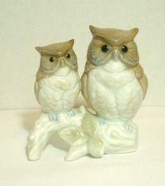 Vintage Otagiri Owl Figurine 2 Owls on Branch Mother and Baby Japan #Otagiri