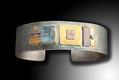 Shield Cuff with Rough Cut Aqua and Diamond: Lynda Bahr: Gold, Silver, & Stone Bracelet - Artful Home
