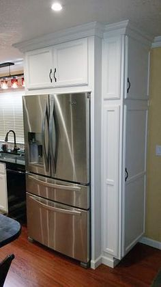 """This gorgeous French door refrigerator is a dream. And it looks spectacular in a custom-built cabinet. Home Depot customer Dougie sent us this photo. He says, """"This is a five star refrigerator."""" #Refrigerators"""
