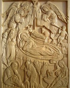 Nativity carving by Jonathan Pageau #iconography #orthodoxchurch #christmas #woodworking by stvladimirs