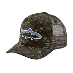 dbbb7529be21c The Patagonia Fitz Roy Trout Trucker Hat is a classic mid-crown trucker hat  with an organic cotton front