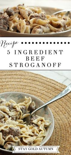 An easy to make 5 ingredient beef stroganoff recipe that keeps you from spending. CLICK Image for full details An easy to make 5 ingredient beef stroganoff recipe that keeps you from spending all day in the kitchen with. Think Food, I Love Food, Good Food, Yummy Food, Cheap Dinners, Cheap Simple Meals, Beef Dishes, Tapas, Cooking Recipes
