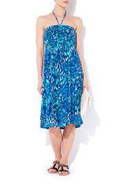 Blue Animal Print Jersey Dress