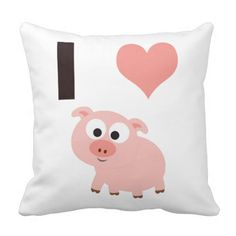 I heart pigs throw pillow