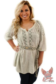 Navajo Sweetheart Belted Tunic  - We love this fall-time top! This little Navajo inspired Henley tunic comes in light calm colors of cream and sage, a perfect piece to complement the cooling weather. It's quarter length sleeves feature a beautiful aztec pattern that continues to the front of the top. This loose fitting tunic top also features an adorable woven crochet beaded belt for a completed look that is sure to flatter any body type!  | available at http://www.envy