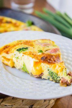 Cheesy Ham and Broccoli Frittata - The Food Charlatan Breakfast Frittata, Breakfast Dishes, Eat Breakfast, Breakfast Recipes, Breakfast Ideas, Frittata Recipes, Leftover Ham Recipes, Snacks, Breakfast