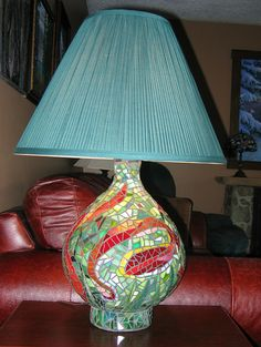 Lamp Base in Stained Glass Mosaic by colourfulspirit.good plan for some old lamps. Mosaic Bottles, Mosaic Vase, Mosaic Flower Pots, Mosaic Diy, Mosaic Crafts, Mosaic Projects, Pebble Mosaic, Mosaic Garden, Mosaic Ideas