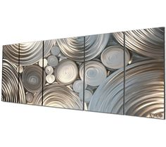 Ultra-Modern Metal Wall Sculpture 'Inter-Diffusion' - 48x20 in. - Unique and Original Silver Art Decor - Modern Artwork - Metal Wall Art. $490.00, via Etsy.