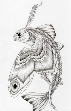 DeviantArt is the world's largest online social community for artists and art enthusiasts, allowing people to connect through the creation and sharing of art. Mythical Flying Creatures, Mythological Creatures, Magical Creatures, Koi Fish Drawing, Fish Drawings, Art Drawings, Beast Creature, Tinta China, Alien Art