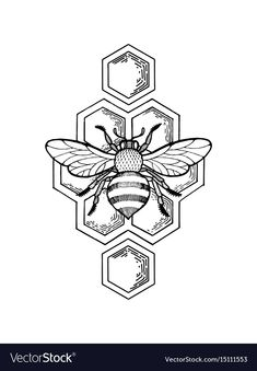 tattoo drawings Bee and honeycombs engraving style Royalty Free Vector Image , Art Drawings Sketches, Tattoo Sketches, Tattoo Drawings, Bee Sketch, Bee Drawing, Wood Burning Art, Bee Art, Tattoo Stencils, Doodle Art
