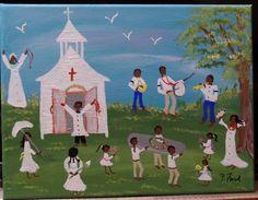 PRIMITIVE SOUTHERN  FOLK ART ORIG. PAINTING  by P.Ford BLACK AMERICANA  9X12  #BlackFolkArt