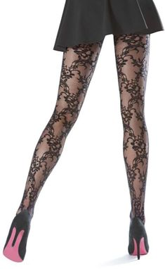 OROBLU Black Lace Tights - Shop at www.fashion-tights.net #tights #pantyhose #hosiery #nylons #legs