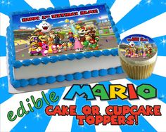 Personalized CAKE super Mario kart edible cake toppers Birthday Sugar icing frosting sheet picture decal transfer sticker happy ideas 8