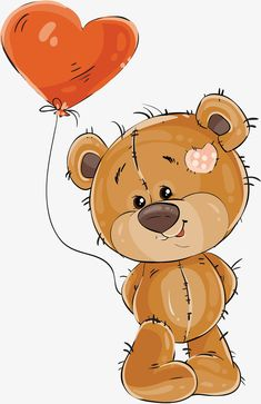Bear with a balloon of love PNG and Vector Tatty Teddy, Animal Drawings, Cute Drawings, Lapin Art, Baby Animals, Cute Animals, Balloon Clipart, Teddy Bear Pictures, Cute Teddy Bears