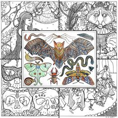 PDF Adult Coloring Pack  Halloween by EvvieMarin on Etsy