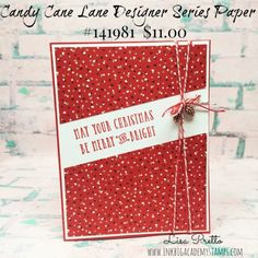 Stampin'Up! Candy Cane LAne Desigenr Series Paper, WOnderful Year stamp set, Christmas Card, pinecones, red and gold