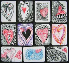 Zentangles by Margaret Bremner on ATC cartds.  The red hearts really pop!
