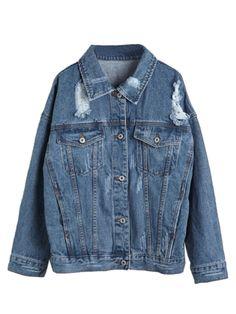 Blue Loose Distressed Denim Jacket