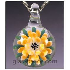 Flower Necklace Glass Pendant handmade lampwork by Glass Peace $20.00