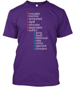 H Onorable Nventive I Ionhearted L Oyal L Dmirable A Espectable R Outhful Y Aring C Iberal L Ntellectual I Oble N... Purple T-Shirt Front