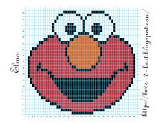 Color Elmo knitting chart stocking/ sweater front graph ...