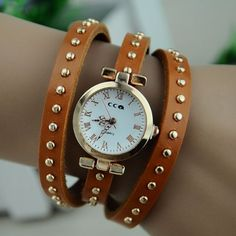 MagicPiece Handmade Vintage Style Leather Watch For Women Triple Wraps Leather Round Shape Watch with Round Rivet in 3 Colors: Yellow: Watch...