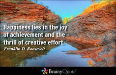 Happiness lies in the joy of achievement and the thrill of creative effort. - Franklin D. Roosevelt #happiness