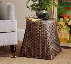 Georgina Square Lidded Basket #potterybarn