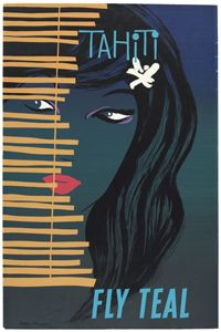 Vintage Poster Gorgeous Vintage Teal Airlines Travel Poster: Tahiti - As Air New Zealand celebrates its anniversary, we look back at its adverts from the golden age of flying Tahiti, Bora Bora, Party Vintage, Vintage Ads, Vintage Tiki, Retro Poster, Vintage Travel Posters, Retro Airline, Vintage Airline
