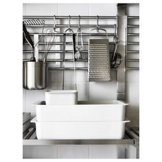 Inspired by professionals, but adapted for you. Just like in a restaurant kitchen, we've focused on durable materials and smart wall storage that provides the space needed for all creative home cooks. Kitchen Wall Storage, Ikea Kitchen, Buy Kitchen, Kitchen Worktop, Kitchen Countertops, Kitchen Carts, Kitchen Rack, Kitchen Cupboards, Recycling Facility