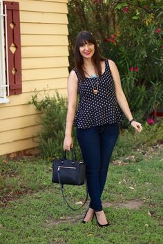 Peplum Top + Skinny Jeans + Stacked Heels + Designer Handbag #outfit #spring
