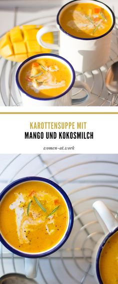 Karottensuppe mit Mango und Kokosmilch The Effective Pictures We Offer You About Healthy Drinks idea A quality picture can tell you many things. You can find the most beautiful pictures that can be pr Diabetic Soups, High Fiber Cereal, Healthy Drinks For Kids, Vegan Clean, Carrot Soup, Fat Loss Diet, Group Meals, Calorie Diet, Fruits And Veggies