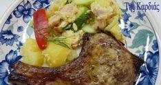 Πείτε μου, σε ποιον δεν θα άρεσε μια τρυφερή μαριναρισμένη μπριζολίτσα, ψημένη στη σχάρα, στα κάρβουνα;; Να μοσχοβολάει την ώρα που ψήνετ... Mediterranean Dishes, Mashed Potatoes, French Toast, Pork, Cooking, Breakfast, Ethnic Recipes, Greek, Cooking Recipes